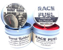 Combo - 4oz Burnt Rubber & 4oz Race Fuel Soy Candle Tins - Great Gift fo... - $15.82