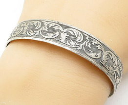 DANECRAFT 925 Silver - Vintage Antique Embossed Swirl Leaf Cuff Bracelet... - $43.03