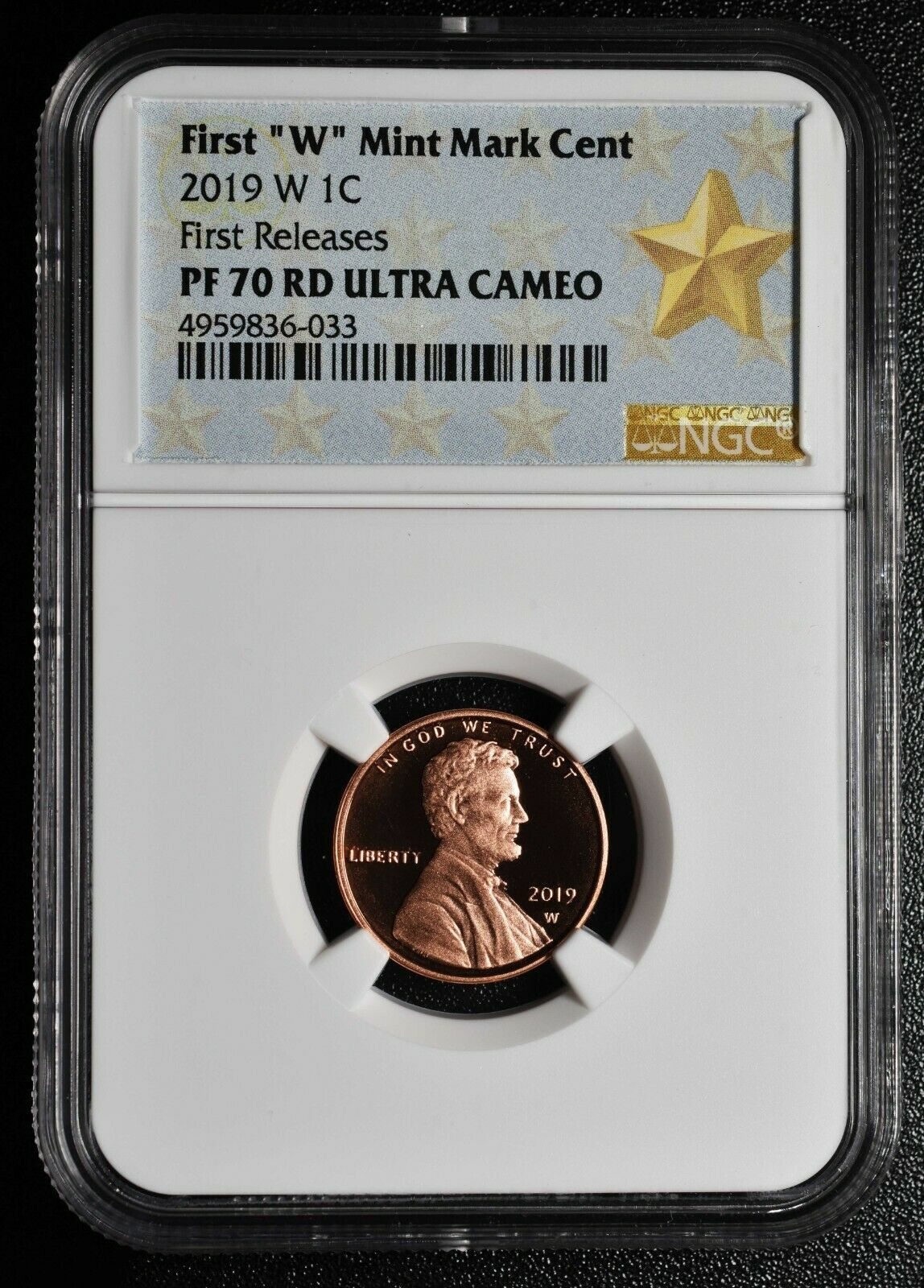 2019 W Lincoln Cent Proof NGC PF70 RD First Releases Coin 4959836-033 SKU C15