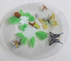 "Peggy Karr Glass Handcrafted "" 22k Gold Butterflies & Flowers"" Fused Col... - $65.00"