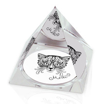"Ornate Cat Meow Illustrated Animal Art 2"" Crystal Pyramid Paperweight - $15.99"