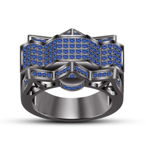 Unique Blue Sapphire 925 Sterling Silver 14k Black Gold Finish Women's Band Ring - $122.97