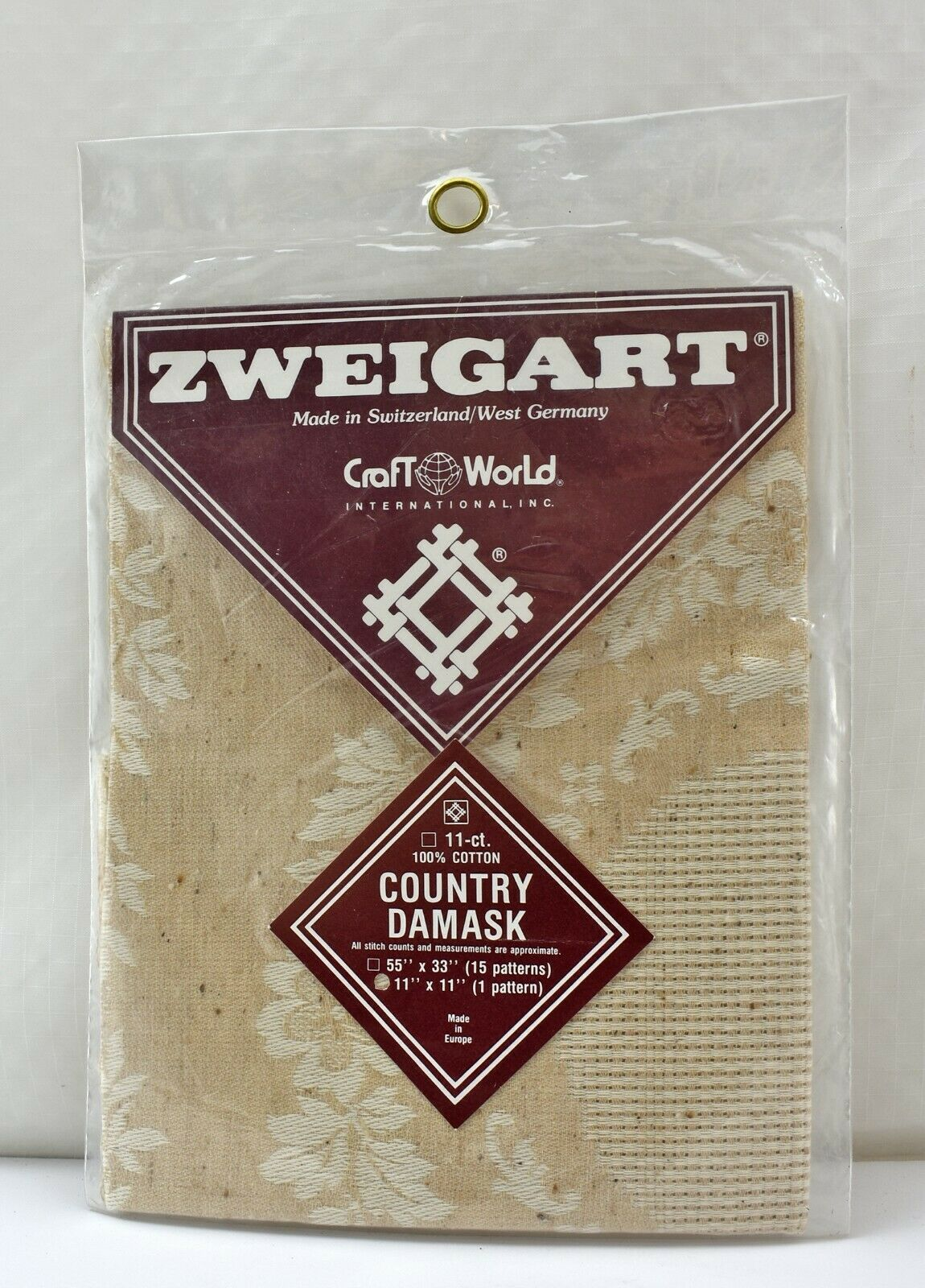 "Zweigart Country Damask 11 Count 100% Cotton Cross Stitch Fabric 11"" x 11"" - $8.50"