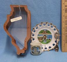 Vintage Illinois Souvenir Lot Plate small cup Bank - $20.74