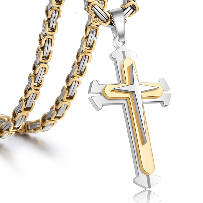 Stainless Steel Chain 3 Layer Knight Cross Gold  Color Mens Necklace Pendant