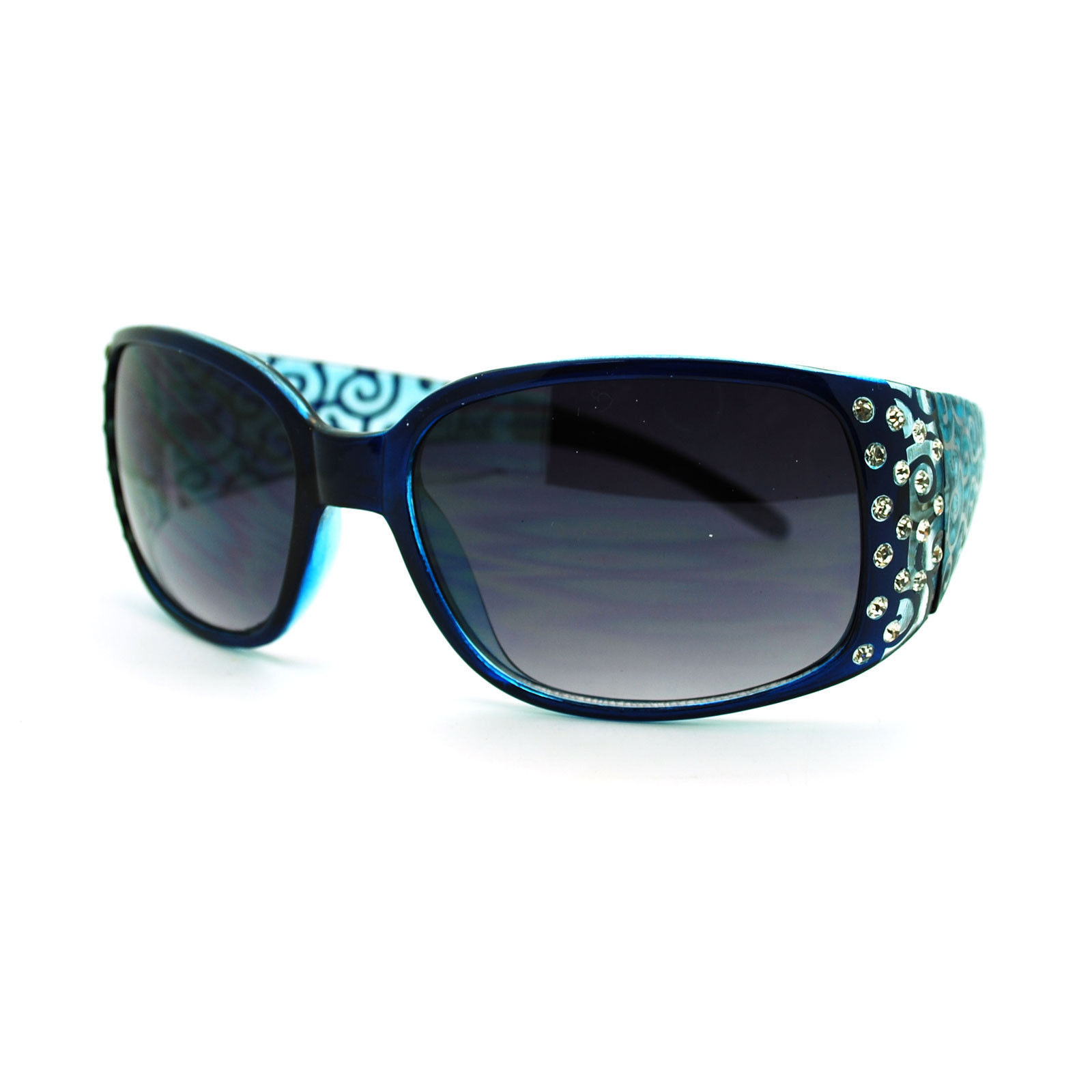 Womens Diva Fashion Thick Temple Rectangular Rhinestone Plastic Sunglasses