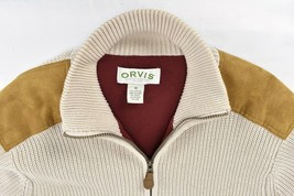 Vintage Orvis Full Zip Heavy Weight Sweater Jacket Mens Med Suede Leathe... - $54.40
