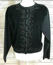 Talbots Womens Petites Size S Wool Cardigan Sweater Black Embellished Bu... - $35.63