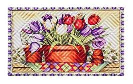 Evergreen Garden 41EM2222 Tulip Basket Embossed Mat Door, Multicolor - $11.82