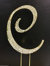 Crystal Rhinestone Covered Gold Monogram Wedding Cake Topper Letter C by... - $10.62