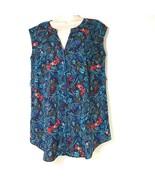 Motherhood Maternity Top Sleeveless Button Up Women Size M Blue Floral - $12.86