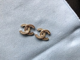 SALE* AUTHENTIC CHANEL XL LARGE CRYSTAL CC LOGO STUD GOLD EARRINGS  image 12