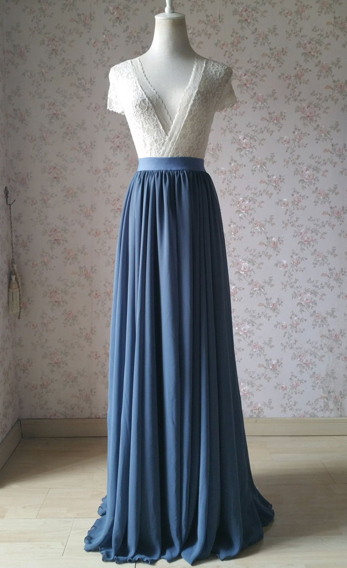Dusty blue chiffon skirt wedding bridesmaid 700 3