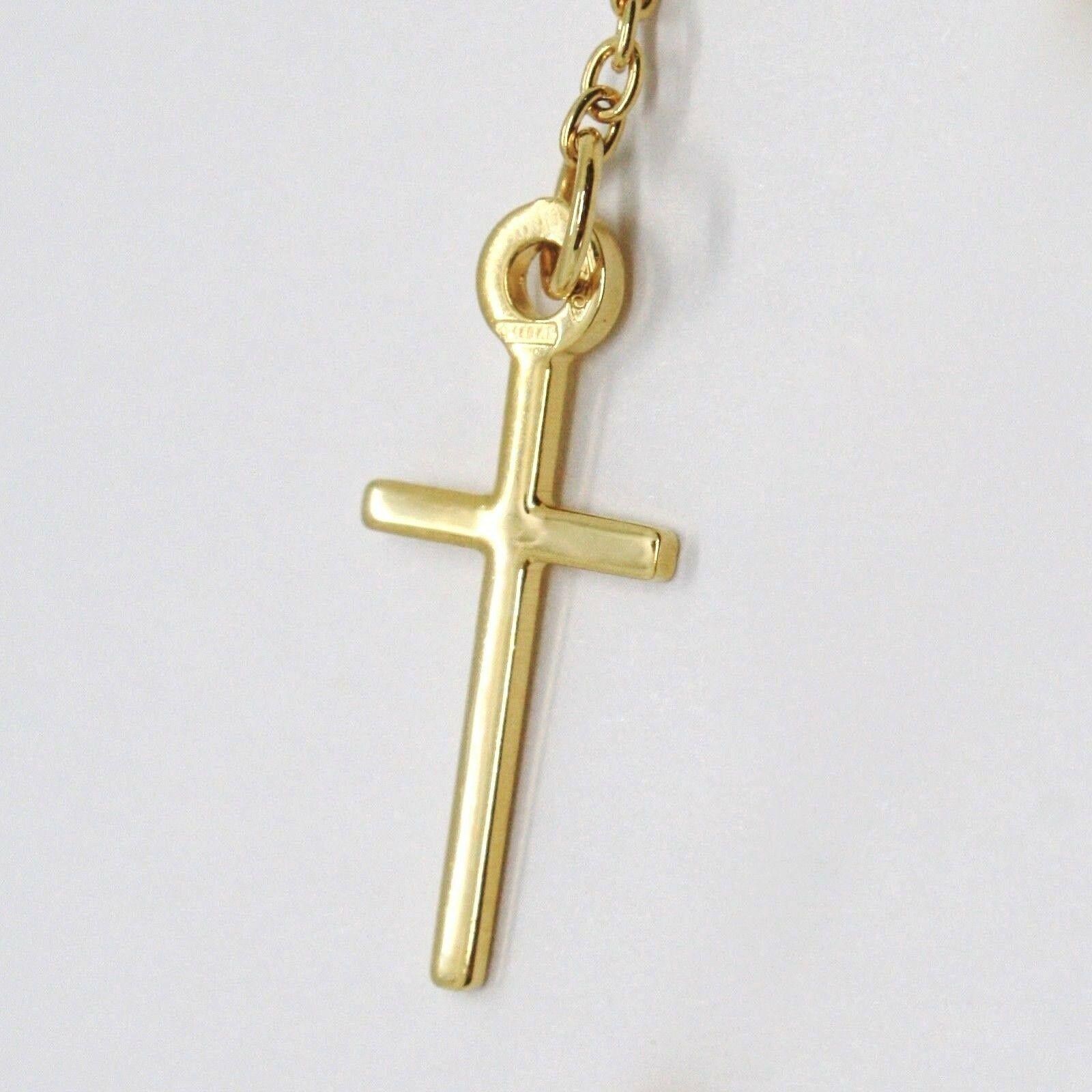Pulsera Oro Amarillo 18K 750 , Rosario, Esferas 2.5 mm, Cruz, Medalla Milagrosa