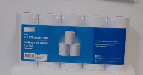 White 1 Ply Cash Register Point of Sale Paper Rolls 10 Per Package
