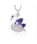 Fashion Womens Crystal Rhinestone Silver Chain Pendant Necklace  - $9.95