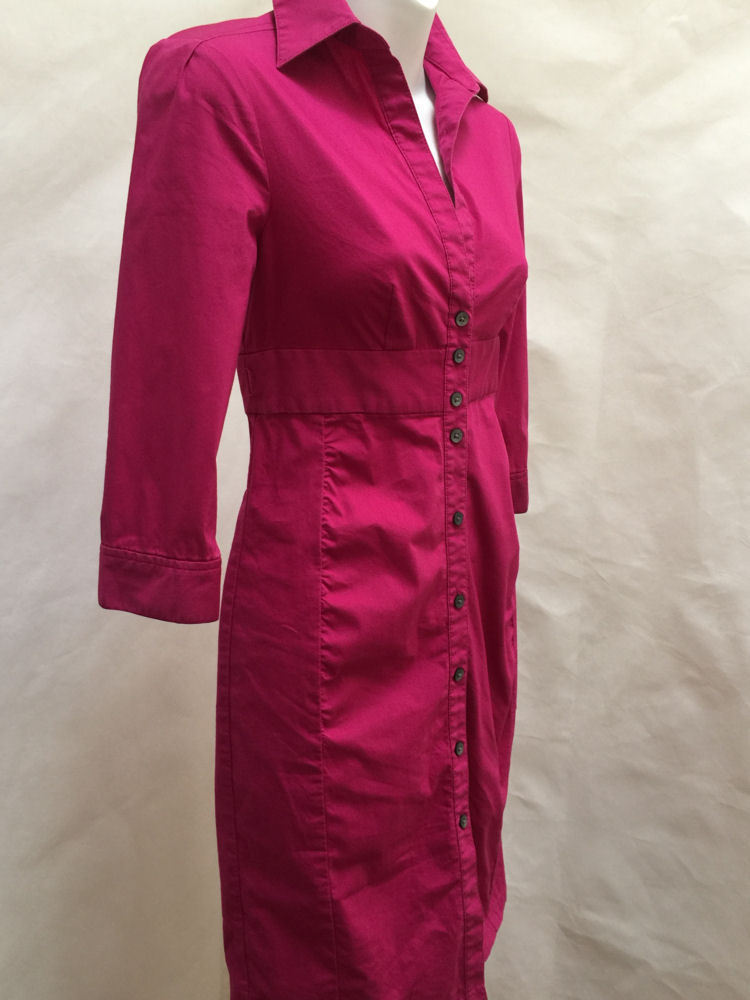 Express 0 Shirt Dress Magenta Sheath 3/4 Sleeve Mini Cotton Stretch image 3