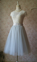 Lady GRAY Tulle Skirt A Line Full Pleated Gray Tea Skirts Custom Size NWT image 4