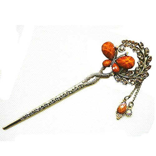 Chinese Traditional Metal Shinning Butterfly Ladies/ Girls Hair Stick, COFFEE