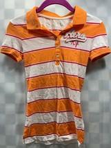 AEROPOSTALE Orange White Striped Polo Top Women's Size XS - $9.40