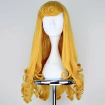 For Cosplay Sleeping Beauty Princess Aurora Long Curly Golden Anime Cost... - $20.48