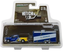 1:64 Green Light *Hitch & Tow 13 Michelin 2016 Ford F-150 w/ENCLOSED Car Trailer - $27.99