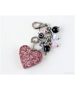 Kawaii Heart Bag Charm, Beaded Keychain, Stainless Steel, J-fashion, Kawaii - $21.00