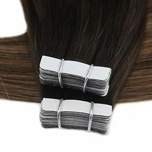 Moresoo 20 Inch Tape in Human Hair Extensions Glue on Hair Balayage Color Off Bl image 6