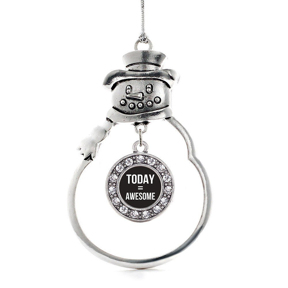 Primary image for Inspired Silver Today Equals Awesome Circle Snowman Holiday Christmas Tree Ornam