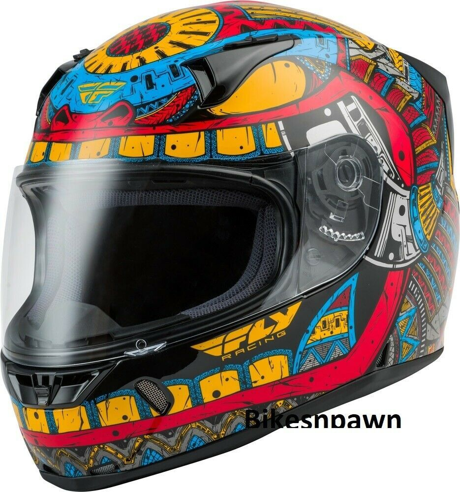 Adult S Fly Racing Revolt Codex Motorcycle Helmet Blue/Red/Yellow DOT & Snell