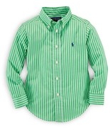 Ralph Lauren Boys' Striped Button Down Shirt, Green Multi, Size 4/4T,MSRP $45 - $23.36