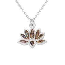 NOUMANDA Lotus Flower Metal Abalone Shell Necklace Pendants, Fashion Pen... - $27.48