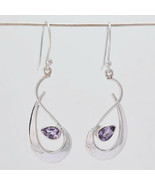 Jaipur 925 Sterling Silver Nice Gorgeous Genuine New Purple Earring Gift UK - $16.45