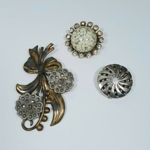 Rhinestone Clear Plastic Brooch Brass Bow Floral Metal Pinwheel Button C... - $19.38