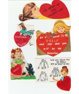 Vintage Valentines Lot of 15 Girl Cards Cute Die Cut Cards for Children - $12.86