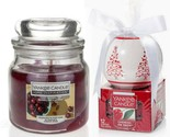 2 Yankee Candle-12 Cherries On Snow Tea lights &Cherry Tart Bakewell Medium Jar