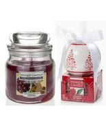 2 Yankee Candle-12 Cherries On Snow Tea lights &Cherry Tart Bakewell Med... - $22.08