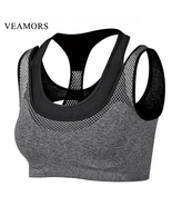 VEAMORS Professional Mesh Fitness Layered Sports Bra Women Sports Yoga T... - $12.00