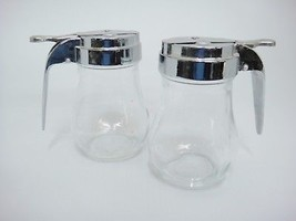 Dripcut by Traex Glass Syrup Dispensers Pitchers Lot of 2 Stainless Lids - $14.84