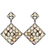 Gemstone 925 Sterling Silver 12.54Ct Opal Diamond Square Dangle Earrings... - $316.03