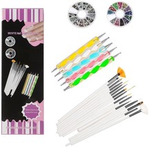 WOVTE Nail Art And Gel Acrylic Drawing Makeup Brush Set With Dotting Too... - $20.77