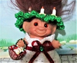 "St Lucia Day TROLL 2.5"" doll ooak New Hair Vintage Basket of Cookies Chr... - $37.62"