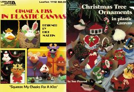 2X Plastic Canvas Gimme A Kiss Squeezums Christmas Tree Ornaments Patterns - $15.99