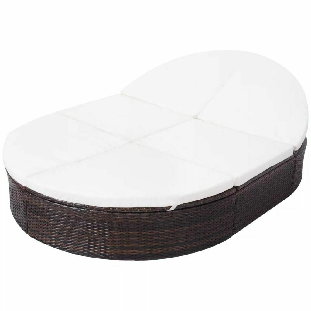 """vidaXL Sunlounger with Cushion Poly Rattan 78.7"""" Lounge Beds Seat Black/Brown image 4"""