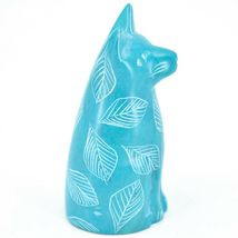 Vaneal Group Hand Crafted Carved Soapstone Light Blue Sitting Kitty Cat Figurine image 4