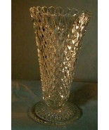 Indiana Glass Diamond Point Clear Footed Vase - $6.29