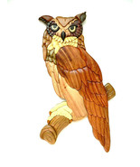 Great Horned Owl Bird Intarsia Wood Wall Art Home Decor Plaque Lodge New - £41.35 GBP
