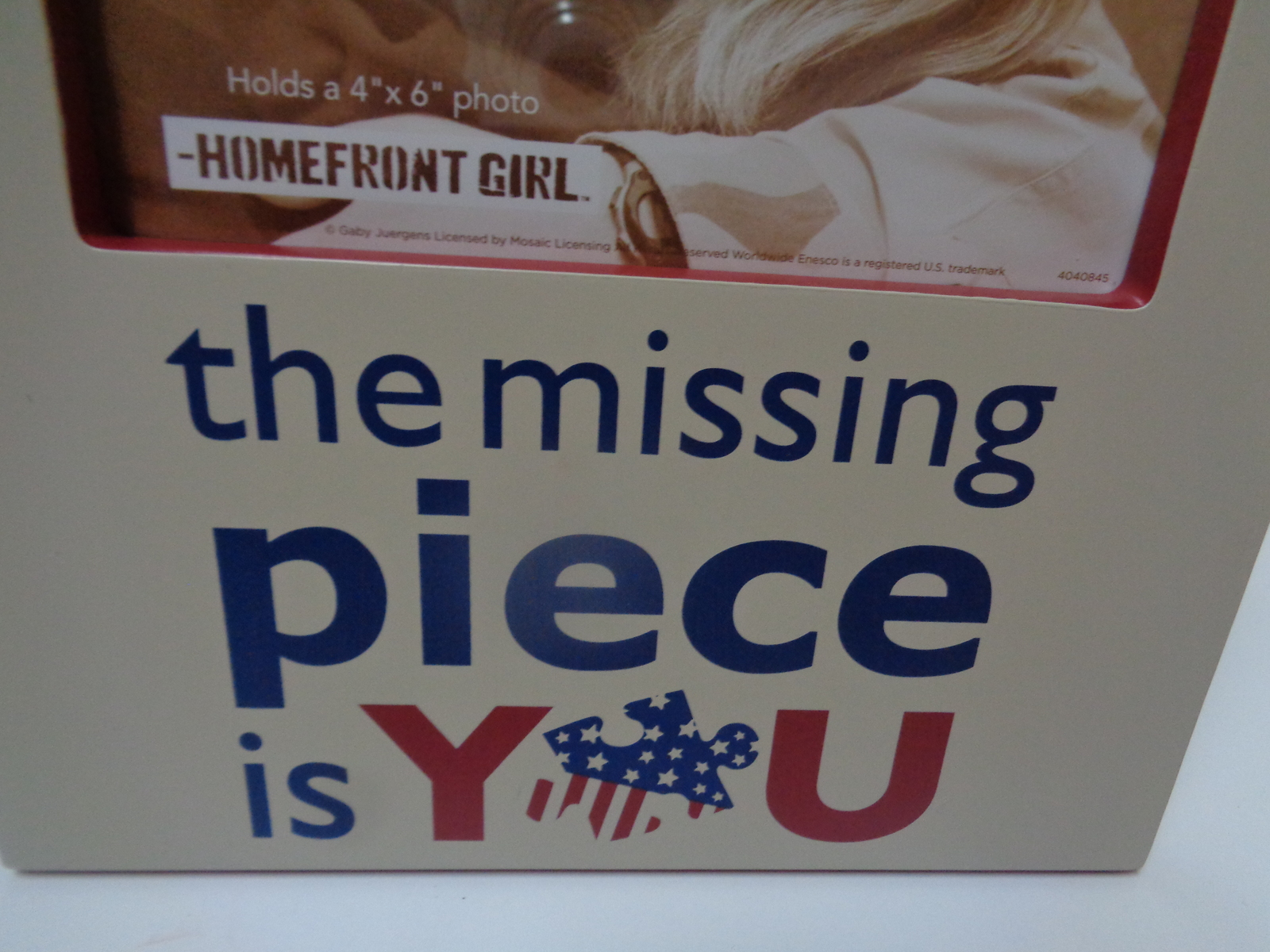 THE MISSING PIECE IS YOU Homefront Girl Wood Photo Frame NWT 4 x 4 photo