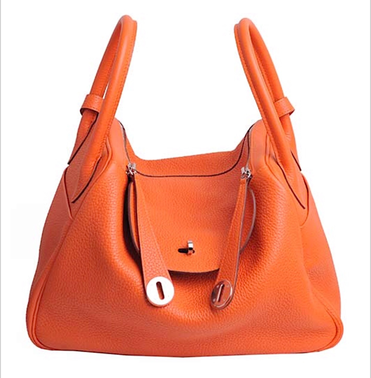 Primary image for 100% Authentic HERMES Taurillon Clemence Lindy 34 ORANGE Shoulder Bag PHW