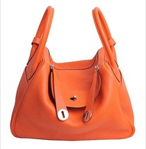 100% Authentic HERMES Taurillon Clemence Lindy 34 ORANGE Shoulder Bag PHW - $6,888.00